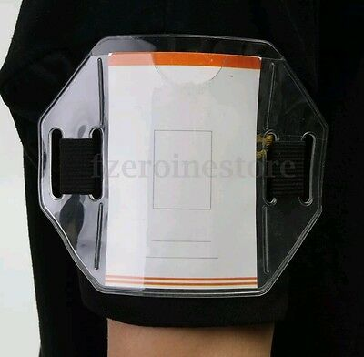PVC Clear Security ID Badge Card Holder Arm Band with Elastic Adjustable Strap