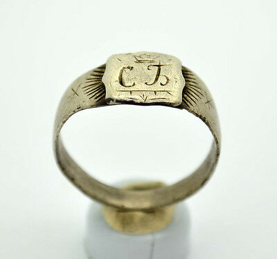 Silver Ring with initials. 18-19 Century