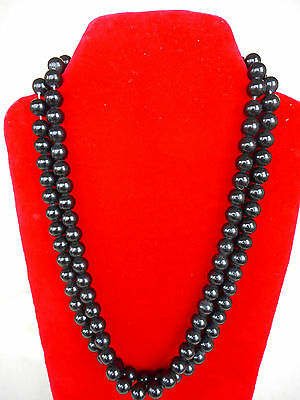 "Stunning  Two Strand Black Pearl Necklace 25"" Long"