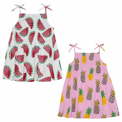 Girls Childrens Summer Dress Shirring Sleeveless Cami Tunic Holiday Party Outfit