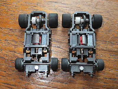 2x TYCO 440 F-1 narrow chassis, rebuilt, cleaned lubed ho Hornby