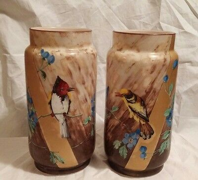 Pair of Opaline Baccarat Hand Painted Bird White Glass Vases