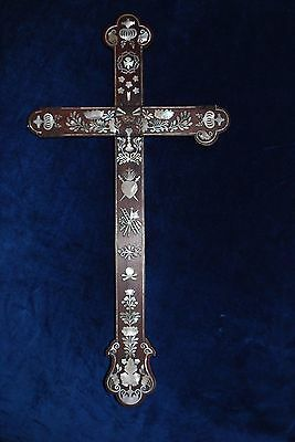 "Fine Antique 19"" Wood Carved Mother Of Pearl Cross Some Damage Chinese Export"