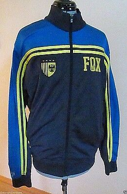 Fox Racing Jacket Size L Blue Yellow Stripes Vintage Style