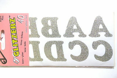 BN NEW Glitzerz Pack of 40 Silver Glitter Letters 32mm High