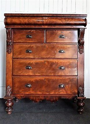 Antique large flame Mahogany Victorian scotch chest of drawers