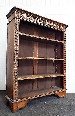 Antique carved oak open bookcase