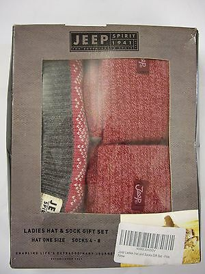 Jeep Spirit Ladies Pink/grey/white Hat And Sock Boxed Gift Set