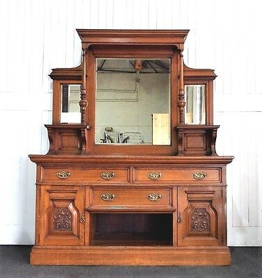 Large Antique Victorian Oak mirror back sideboard
