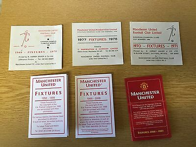 6 X MANCHESTER UNITED Football Fixture cards 69/70 , 70/71 , 77/78 , 98/99 + 3