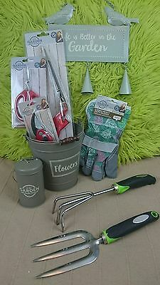 9 piece GARDENING GIFT SET,garden tools/kit,shears,hand forks,bucket,sign,gloves
