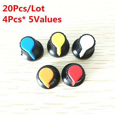 20Pcs 5Value 6mm WH148 potentiometer knob cap Kit Yellow Blue white red 15*17mm