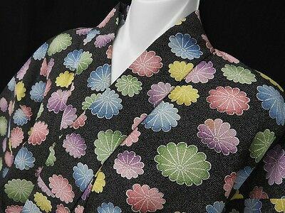 Vintage Japanese Black Crepe Komon/Wedding Kimono 'Pastel Chrysanthemums' S/M