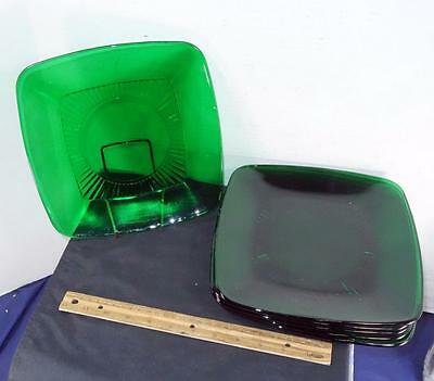 6 Anchor Hocking Forest Green Glass Square Dinner Plates 9 1/4'' Diameter !!