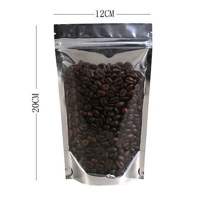 Strong Ziplock Grip Seal Bags Stand Up Pouch Clear Front/Silver Back - 12x20cm