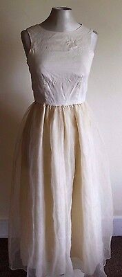 vintage LADIES 90S LONG CREAM DRESS SIZE 8-10 BY ANNE TAYLOR