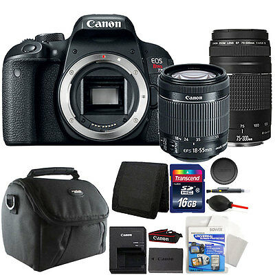 Canon EOS Rebel T7i DSLR Camera + 18-55 STM + 75-300 Lens + 16GB Accessory Kit