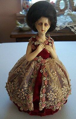 Antique bisque half doll PIN CUSHION 1920s REAL HAIR - Beehive Bouffant hair-do