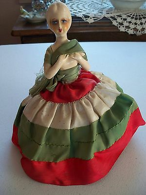 Antique bisque half doll PIN CUSHION 1920s Hand sewn DRESS OOAK white red green