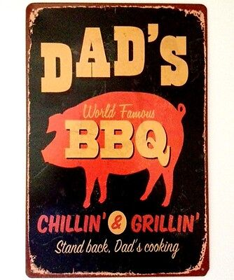 Retro Metal Wall Sign Tin Vintage Funny Kitchen Fathers Day Bbq Dad Gift
