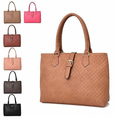 Womens New Large Tote Bag Textured Pattern Buckle Work Everyday Shoulder Handbag