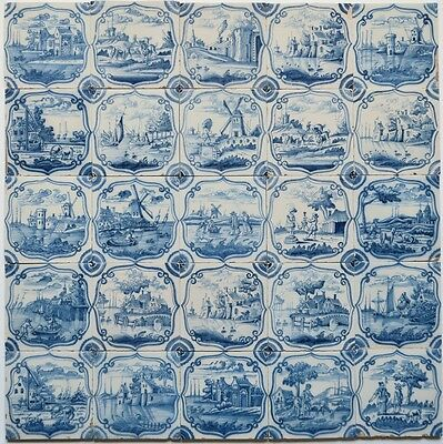 25 Original Liverpool / Delft delftware tiles carreaux with landscapes, c. 1760