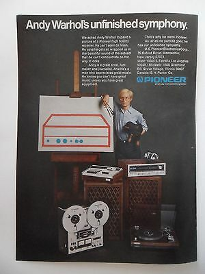1975 Print Ad Pioneer Stereo Receiver ~ Andy Warhol with Stereo Art Painting