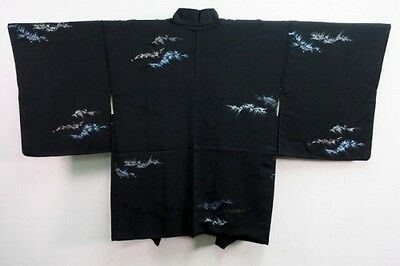 Vintage Japanese Black Silk Blend Kimono Haori Eve Jacket 'Glittering Waves' S/M