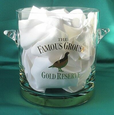 Famous Grouse Gold Reserve Glass Ice Bucket with gilt legends