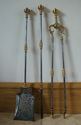 Antique Fire Tongs Companion Set Brass & Cast Iron Two Tone Fireplace Pokers