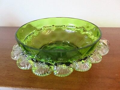 Victorian Olive Glass Handled Bowl With Attached Clear Glass Shell Frill