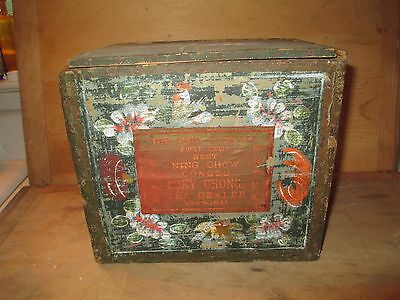 Antique 19th C. Wood Tea Shipping Box - Paint on Top of Paper - Soey Chong