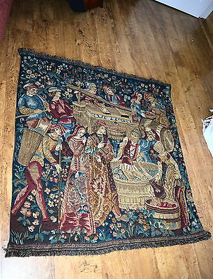 Antique French Heavy Large Tapestry / Wine Making Medieval Scene Vgc