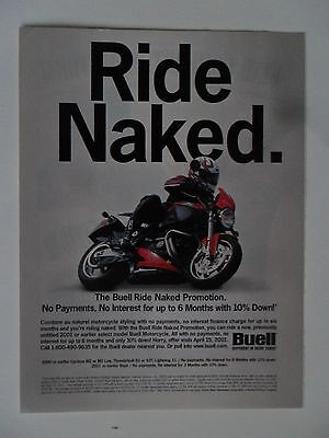 2001 Print Ad BUELL Motorcycle ~ The Ride Naked Promotion