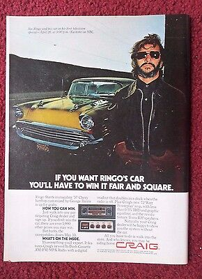 1978 Print Ad Craig Electronics Car Stereo ~ The Beatles Ringo Starr 1957 Chevy
