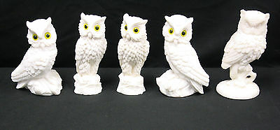 Lot of 5 Vintage White Owls with Yellow Eyes - Made in Italy