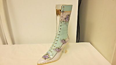 """Older  China marked 10 1/2"""" Tall Victorian High Top Shoe-Floral-Gold Trim"""