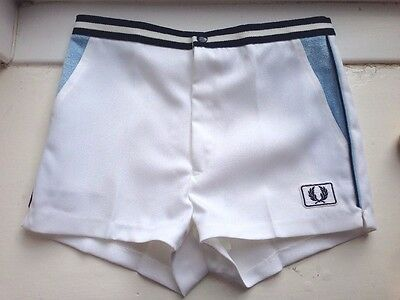 "Vintage Fred Perry Tennis Shorts Pale Blue White Mens sports shorts 30 32"" waist"