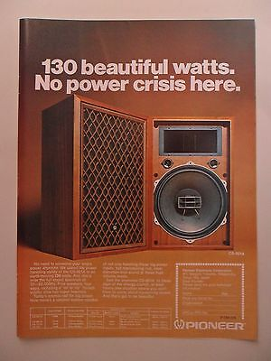 1974 Print Ad Pioneer Electronics Stereo ~ 130 Beautiful Watts, No Power Crisis