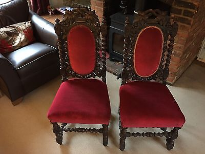 Pair of Antique Ornate Carved Hall Chairs