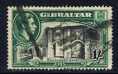 Gibraltar #114a(1) 1938 1 shilling green & blk Perf 14 Southport Gate CV$27.50