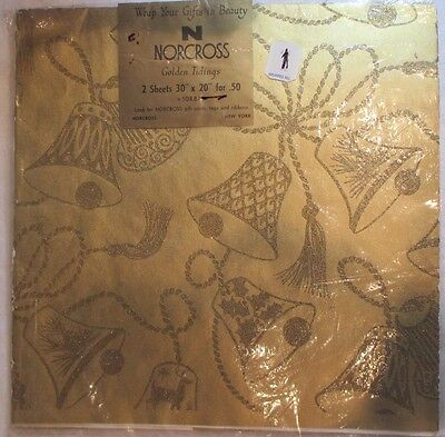 VINTAGE 1950's NORCROSS GLITTER BELLS CHRISTMAS 1.5 SHEETS WRAPPING PAPER NOS