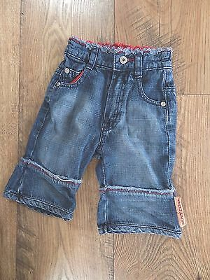 baby boys girls DKNY long denim shorts cropped jeans age 12 months blue & red
