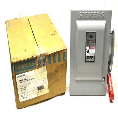 NEW Siemens HNF361 Heavy Duty 30A 3P Non-Fusible Safety Switch 600VAC/250VDC