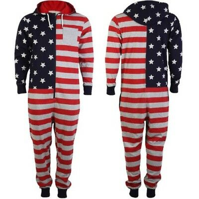 Tokyo Laundry Jumpsuit Mens Womens New American USA Flag Print Hooded All  In One c3229d2d22