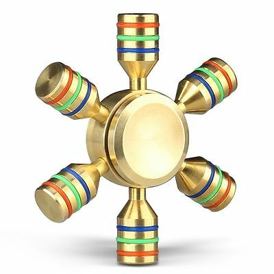 6- Side Fidget Hand Spinner Finger Brass Toy EDC Focus ADHD Autism Stress Relief