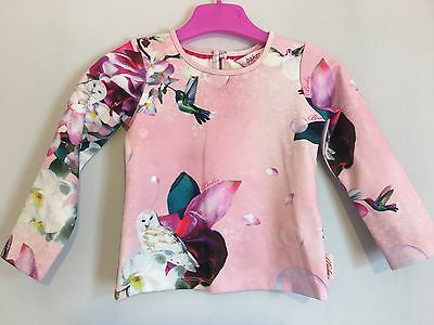 Lovely Baby Girls Designer Ted Baker Floral & Bird Print Long Sleeve Top 12-18m