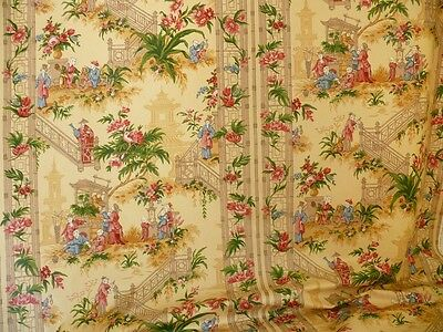 Lee Jofa Chinoiserie Staircase Jasmine Gold Chintz Bty Msrp$170/y!
