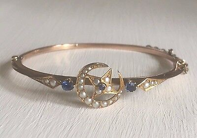 Rare Art Nouveau Victorian 9ct gold star moon bangle with sapphires and pearls