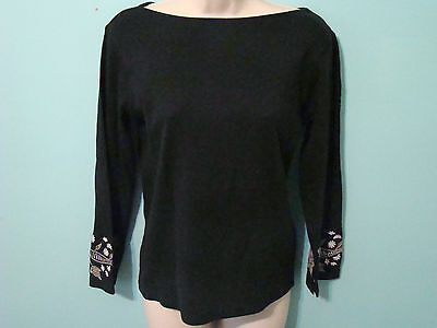 Women's Size Medium Casual Corner Black with Embroidery Long Sleeve Shirt
